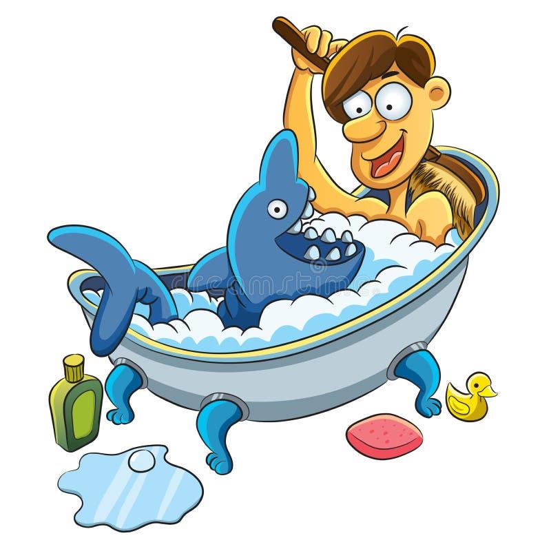 mężczyzna kąpielowy zabranie ilustracja wektor