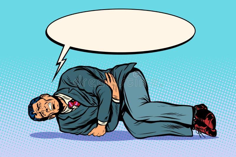 Mężczyzna kłama skaleczenie żołądek Cierpliwi wezwania dla pomocy ilustracji