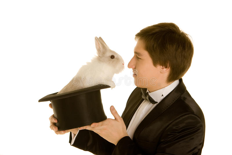 mężczyzna kapeluszowy królik zdjęcia royalty free