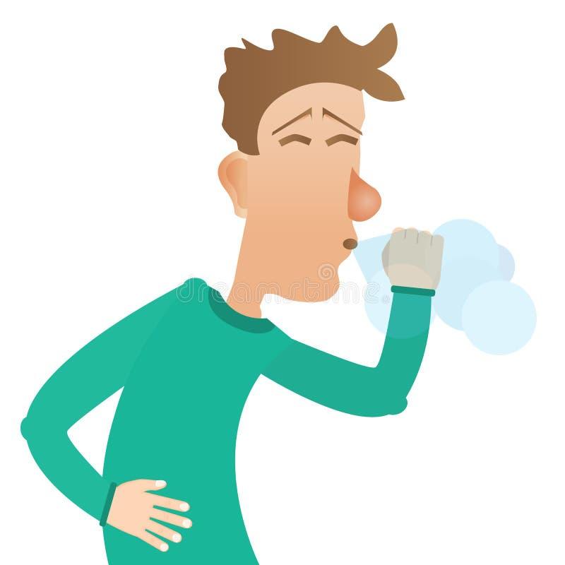 Mężczyzna kichnięcia, choroba, alergia również zwrócić corel ilustracji wektora ilustracji