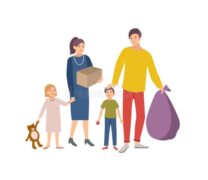 Mężczyzna, kobieta i dzieci niesie, torbę i pudełko z starymi rzeczami i odziewamy darować je dobroczynności organizacja wolontar ilustracji