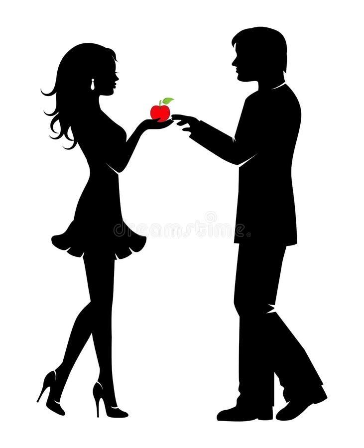 Mężczyzna, kobieta i niedozwolona owoc, royalty ilustracja