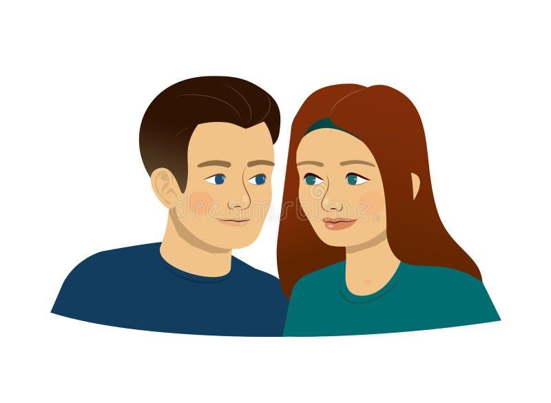 Mężczyzna, kobieta, młodzi ludzie nastolatków, kochająca para, przyjaciele, bliźniacy lub brat, być może - siostra ilustracji