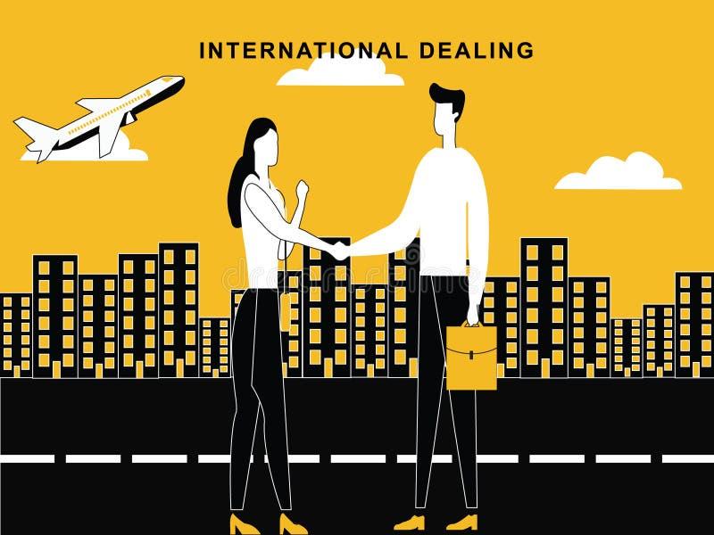 Mężczyzna kobieta rozdaje pojęcie przy zawody międzynarodowi poziomem ilustracji
