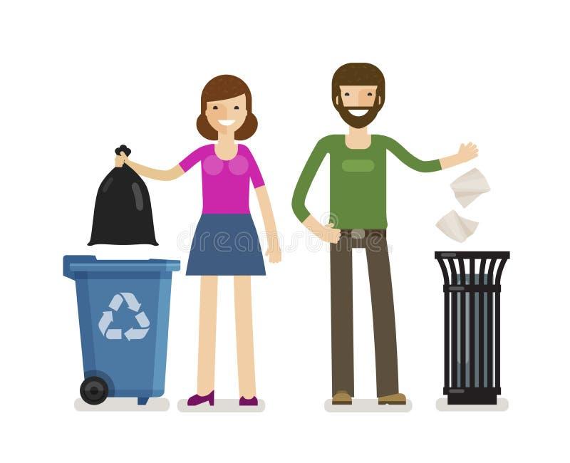 Mężczyzna, kobieta rzuca śmieci w kubeł na śmieci Ekologia, banialuki usunięcia wektoru ilustracja royalty ilustracja
