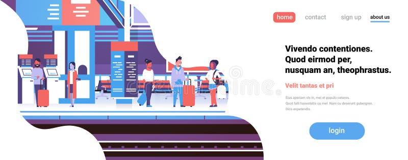 Mężczyzna kobiety czekania pociągu staci kolejowej pasażerów sztandaru kopii podziemna wewnętrzna płaska przestrzeń ilustracja wektor