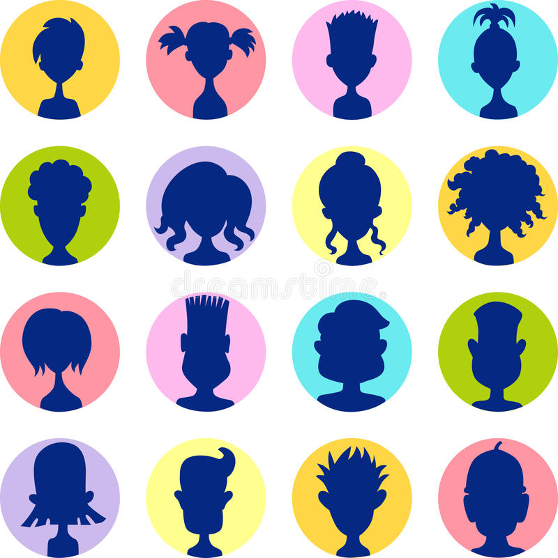 Mężczyzna, kobiety, dziecka avatar profilu obrazka kolorowa ikona ustawiają - wektor ilustracji