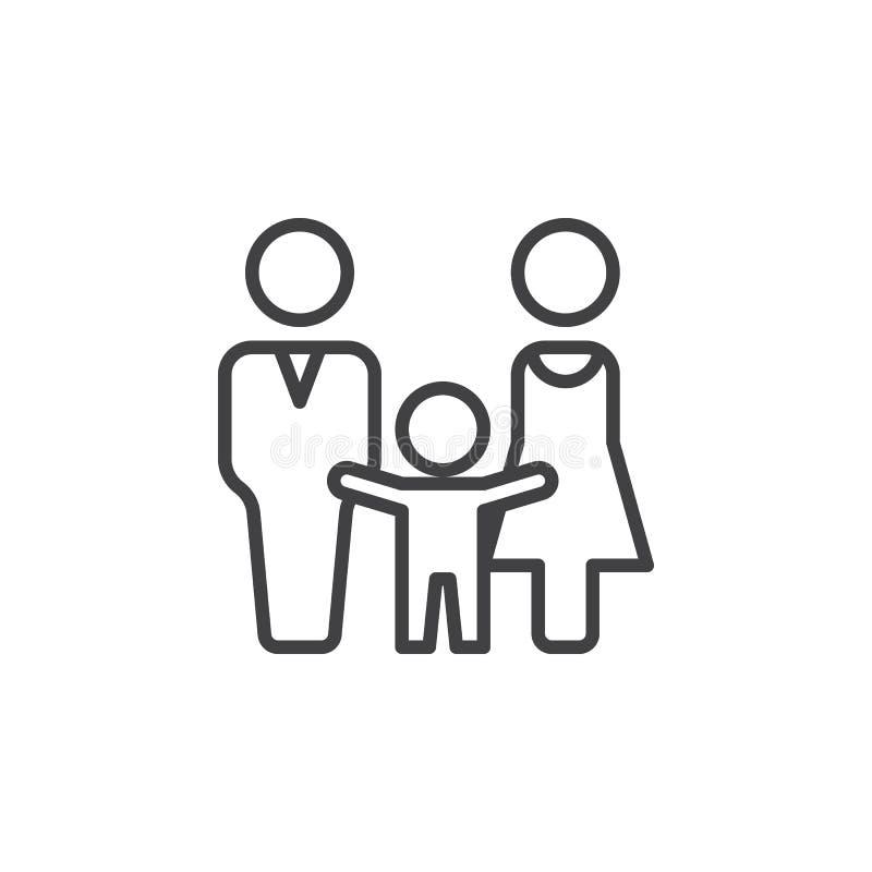 Mężczyzna, kobiety i dziecka kreskowa ikona, konturu wektoru znak, liniowy piktogram odizolowywający na bielu ilustracja wektor