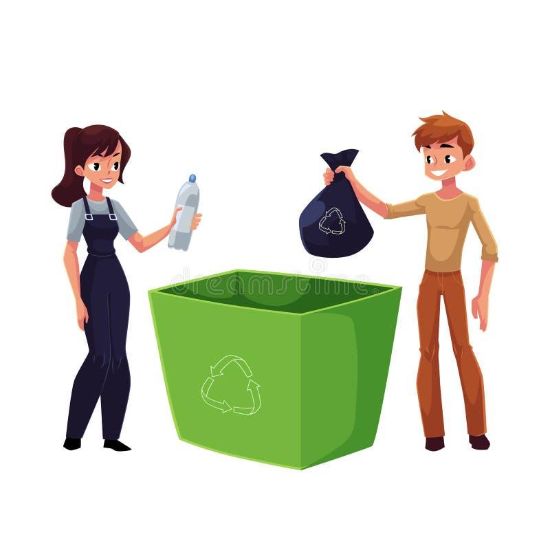 Mężczyzna, kobiety kładzenia śmieci w kosz na śmieci, jałowy przetwarza pojęcie ilustracja wektor