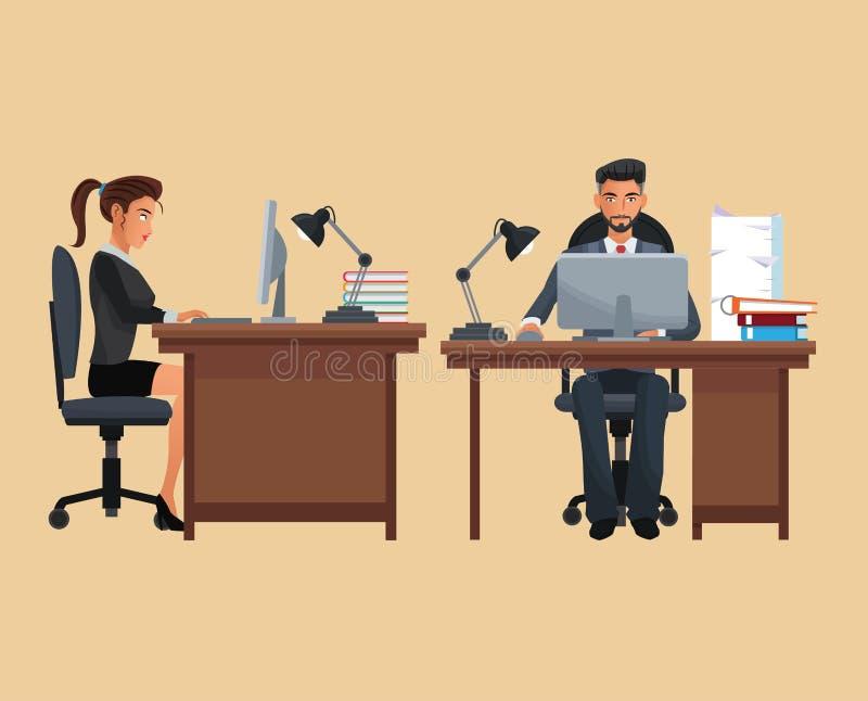 Mężczyzna kobiety obsiadania miejsca pracujący biurko ilustracji