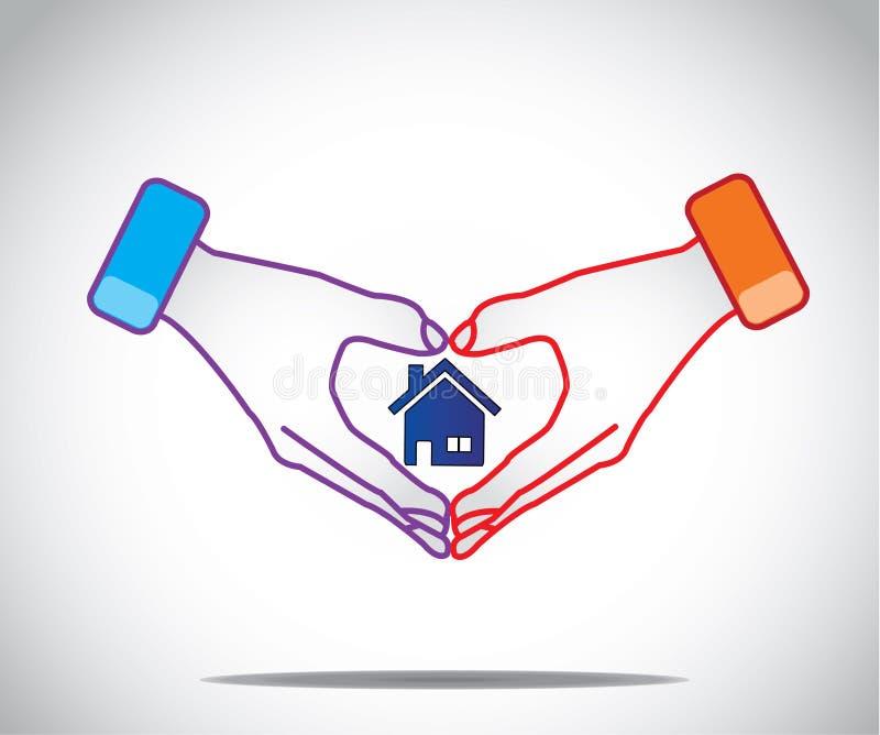 Mężczyzna kobiety pary chwyta ręki jak serce z domu domem w środku royalty ilustracja