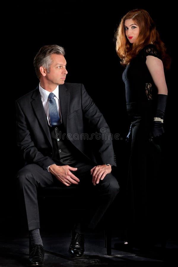 Mężczyzna kobiety pary film noir fotografia royalty free