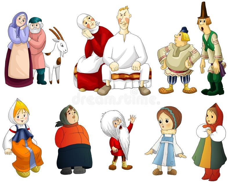 Mężczyzna Kobiety Starych Dzieciaków Clipart Kreskówki Wiejski Styl Obraz Stock