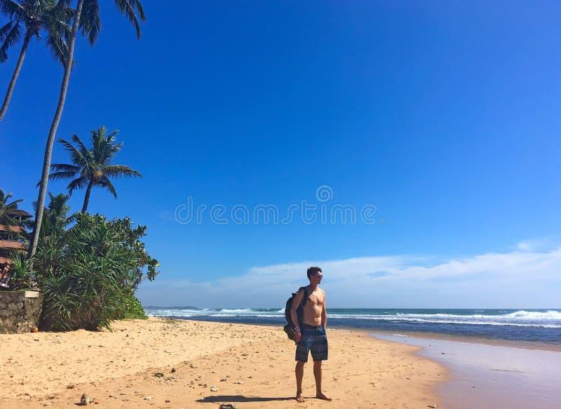 Mężczyzna, kokosowe palmy na brzeg ocean indyjski zdjęcia royalty free