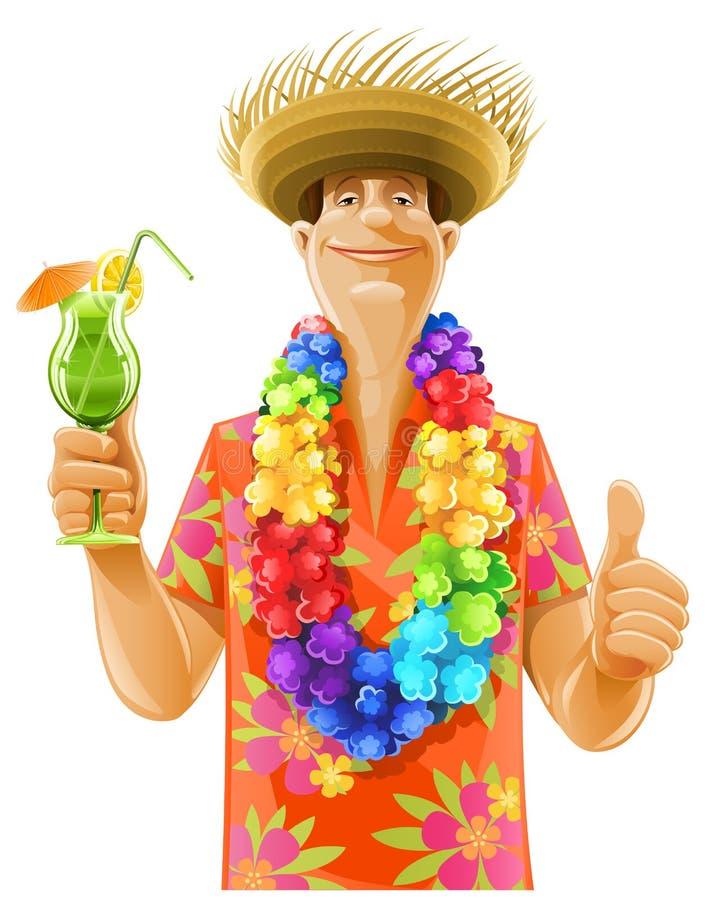 Mężczyzna koktajlu Hawaii wianku kapelusz ilustracji