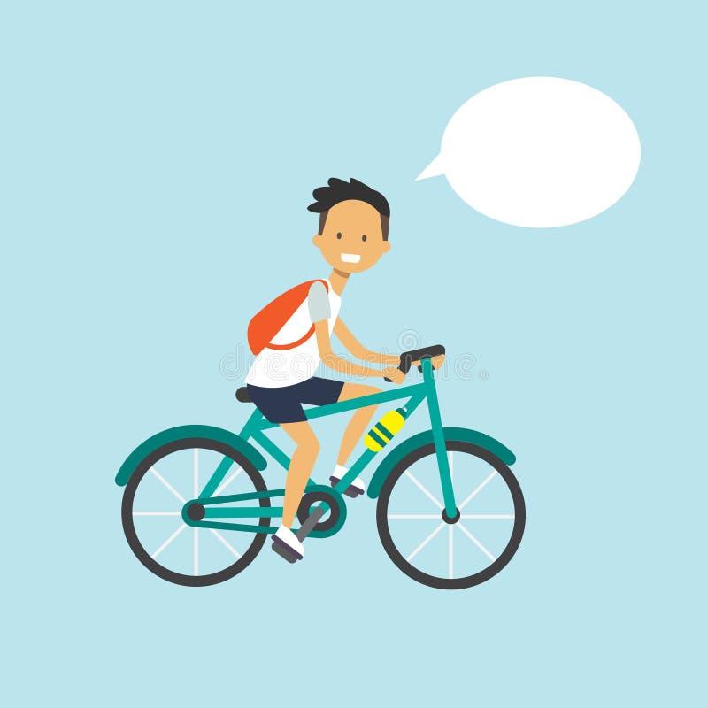 Mężczyzna kolarstwa gadki bąbla charakter folował długość nad błękitnym tła mieszkaniem ilustracji