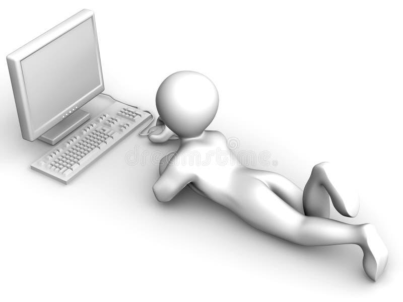 mężczyzna komputer osobisty ilustracja wektor