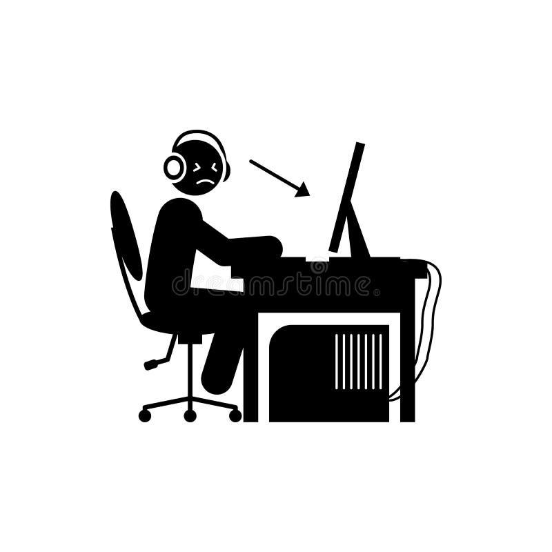mężczyzna koncentrata ikona Element gamer ikona dla mobilnych pojęcia i sieci apps Glifu mężczyzna koncentrata ikona może używać  ilustracja wektor