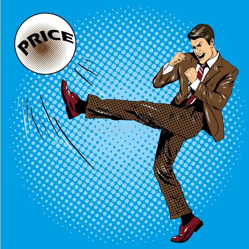 Mężczyzna kopania piłka z imię ceną Wektorowa ilustracja w komicznym wystrzał sztuki retro stylu Biznesmena walczyć pieniężny royalty ilustracja