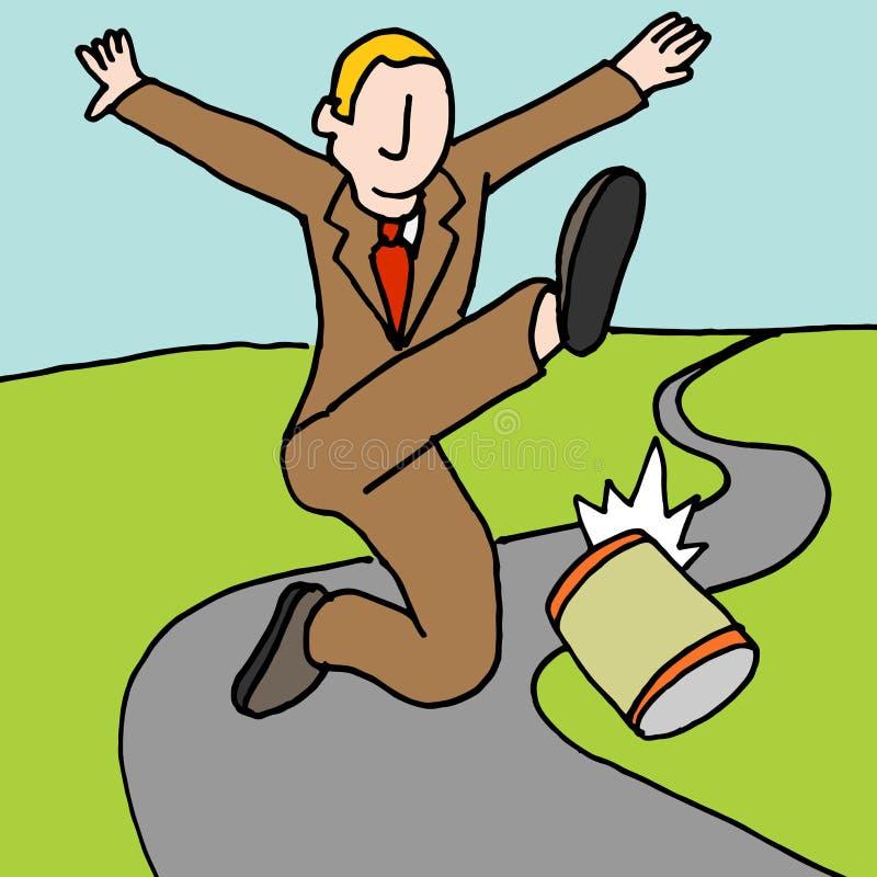 Mężczyzna kopanie może zestrzelać drogową metaforę ilustracji