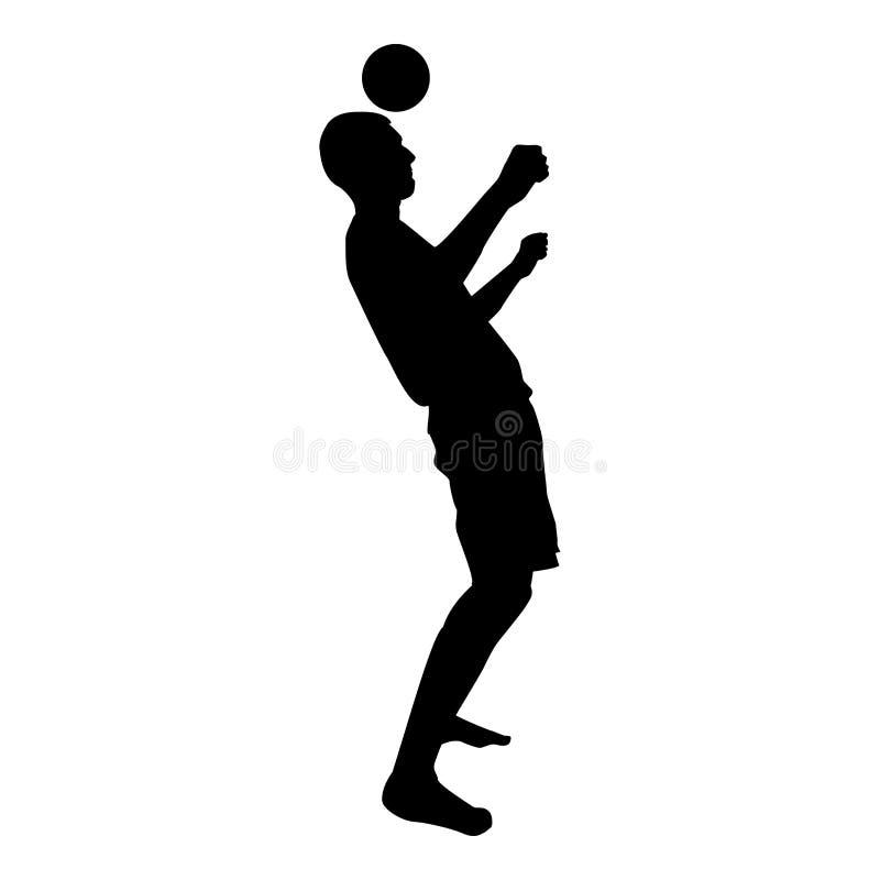 Mężczyzna kopie piłkę na głowie Gracz piłki nożnej stuka piłkę z jego kierowniczego Futbolowego pojęcia Kuglarską sztuczką z balo ilustracji