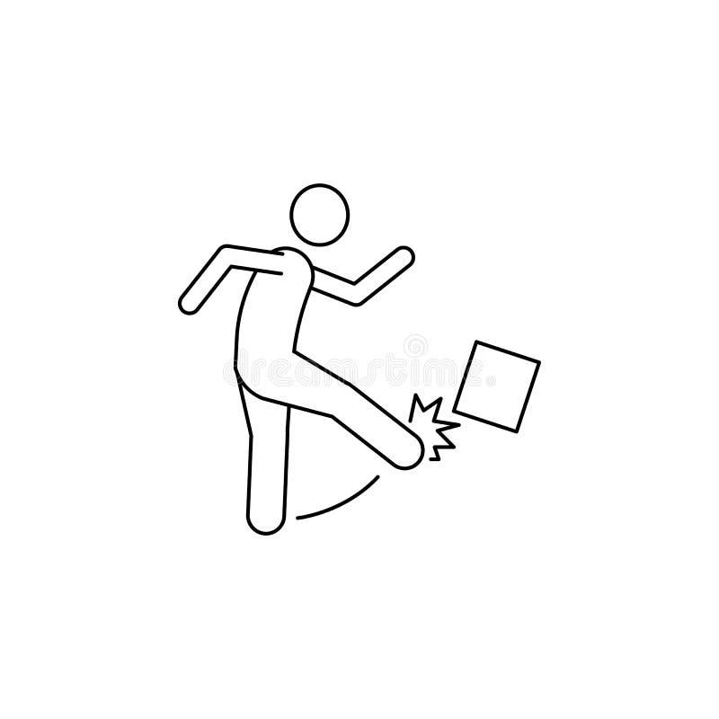 mężczyzna kopie pudełko z jego nożną ikoną Element mężczyzna niesie pudełkowatą ilustrację Premii ilości graficznego projekta iko ilustracja wektor