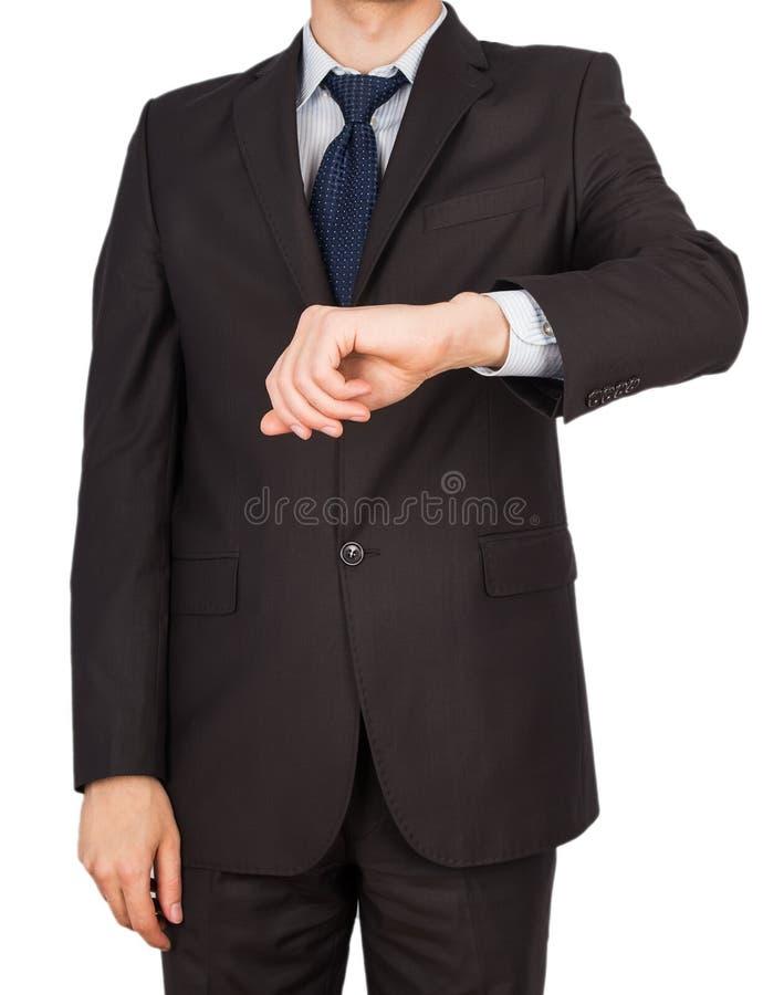 Mężczyzna kostiumu ręki zegarki fotografia royalty free