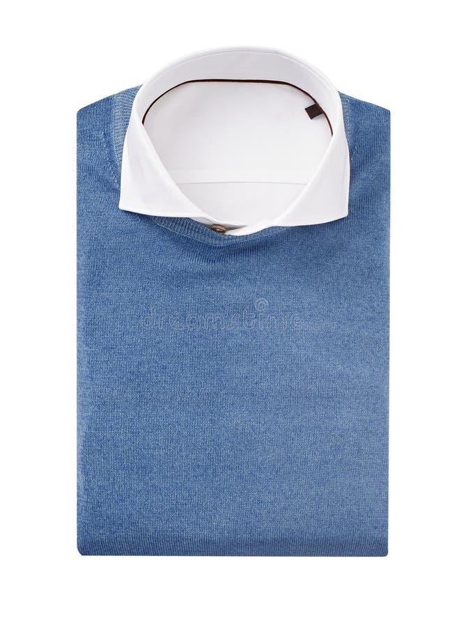Mężczyzna koszulowi z pulowerem odizolowywającym na bielu obraz stock