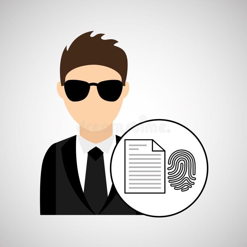 Mężczyzna kreskówki odcisku palca kartoteki technologii cyfrowej ochrona ilustracja wektor