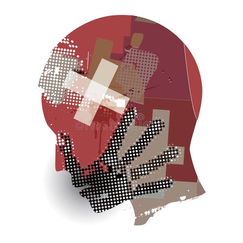 Mężczyzna, krwi rany głowa ilustracja wektor