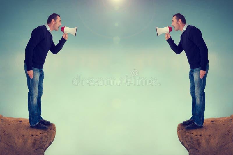 Mężczyzna krzyczy megafonu jar fotografia royalty free