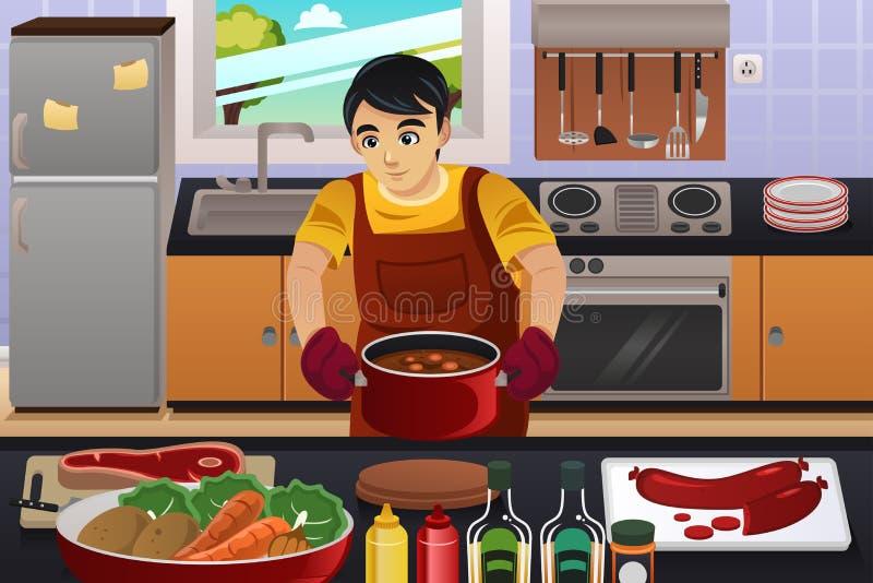 Mężczyzna kucharstwo ilustracja wektor