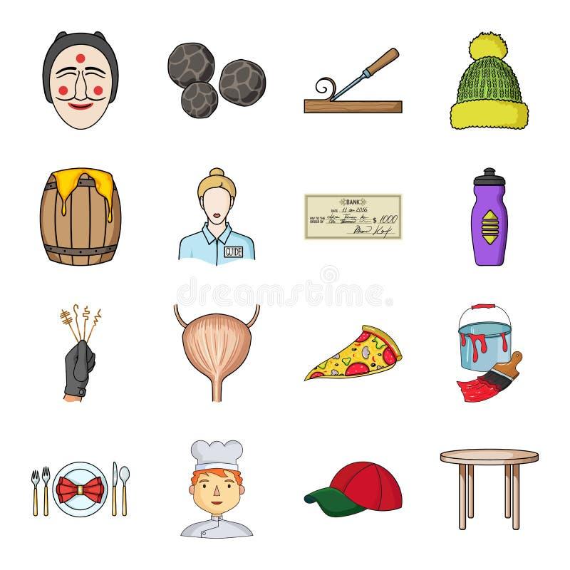 Mężczyzna, kucharz, nakrętka i inna sieci ikona w kreskówce, projektujemy stół, nogi, kuchenne ikony w ustalonej kolekci royalty ilustracja