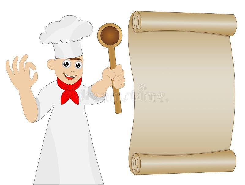 Mężczyzna kucharz z łyżką w ręce i starym papierze ilustracji