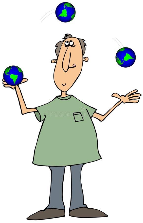 Mężczyzna kuglarskie kule ziemskie ilustracji