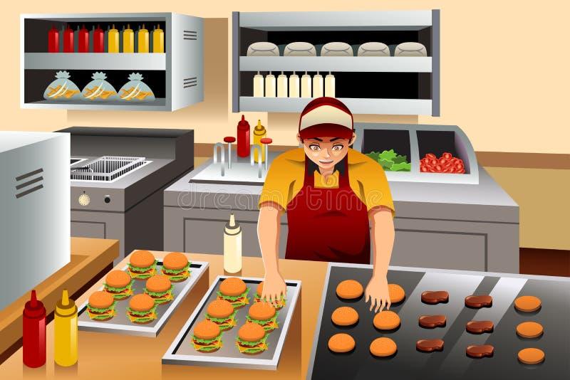 Mężczyzna Kulinarni hamburgery royalty ilustracja