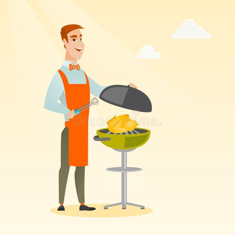 Mężczyzna kulinarny kurczak na grilla grillu royalty ilustracja