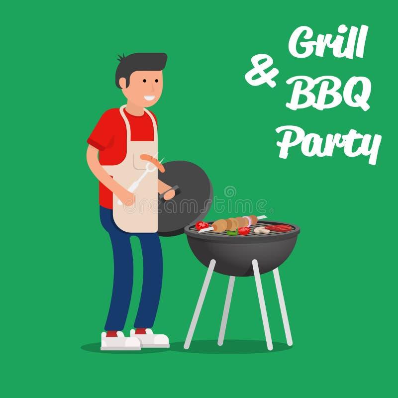 Mężczyzna kulinarny mięso z grillem Grilla przyjęcie ilustracja wektor