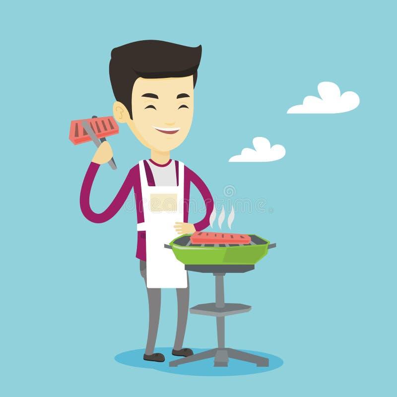 Mężczyzna kulinarny stek na grilla grillu ilustracja wektor