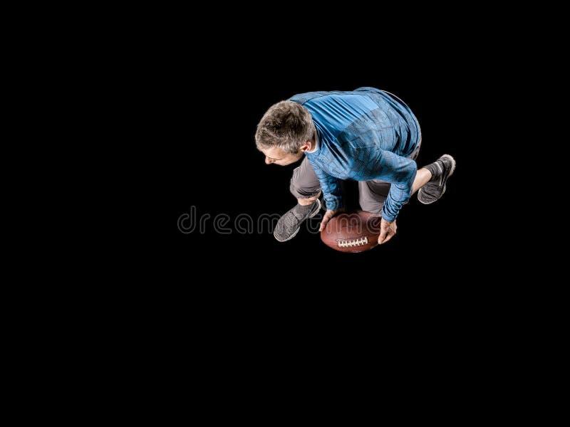 Mężczyzna, 48 lat, bawić się rugby zdjęcia stock