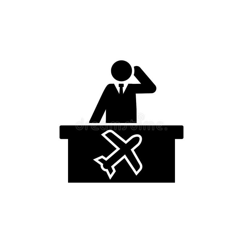 Mężczyzna, lotnisko, myśli ikona Element hotelowa piktogram ikona Premii ilo?ci graficznego projekta ikona Znaki i symbol kolekci ilustracja wektor
