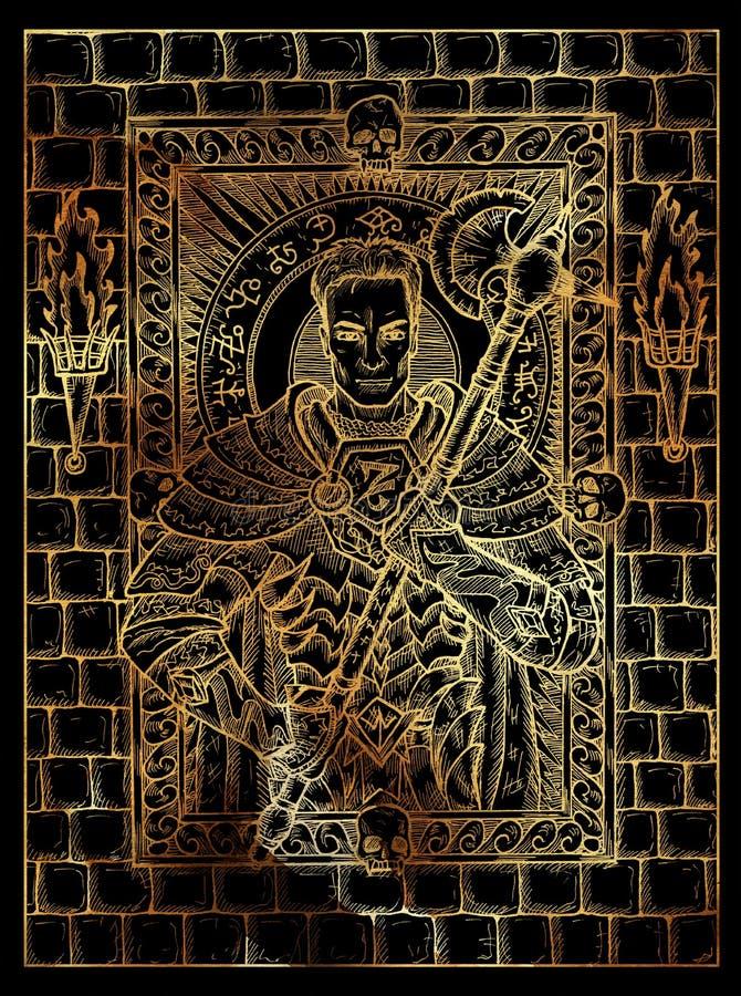 Mężczyzna lub rycerz Tajemniczy wiccan pojęcie dla Lenormand wyrocznii tarot karty ilustracja wektor