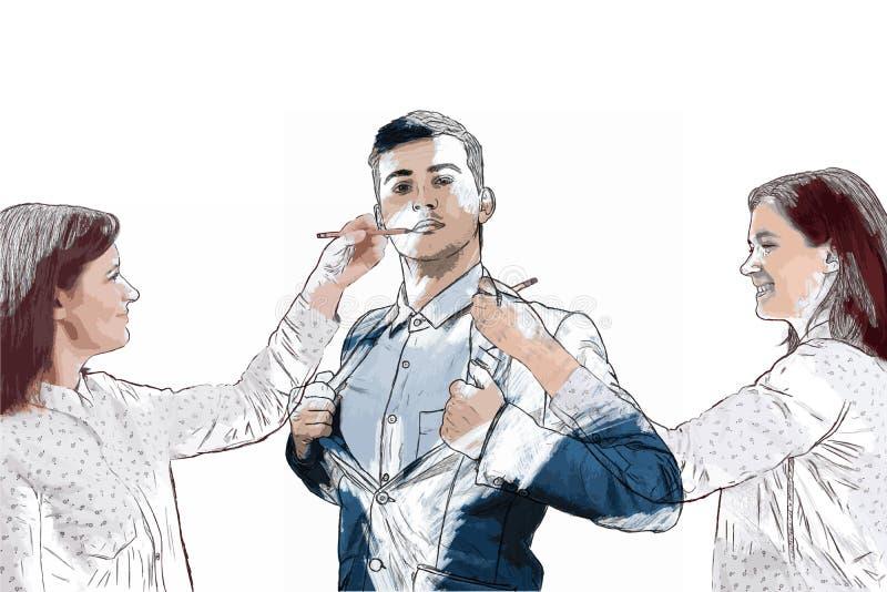 Mężczyzna mój sen ilustracja wektor