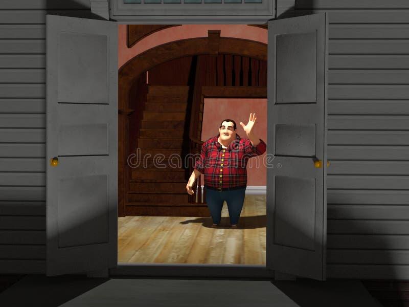 Mężczyzna mówi goście dobranoc ilustracji