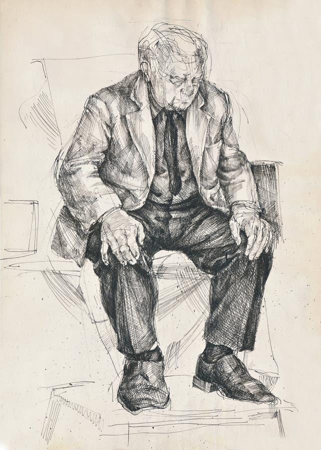mężczyzna męczący royalty ilustracja