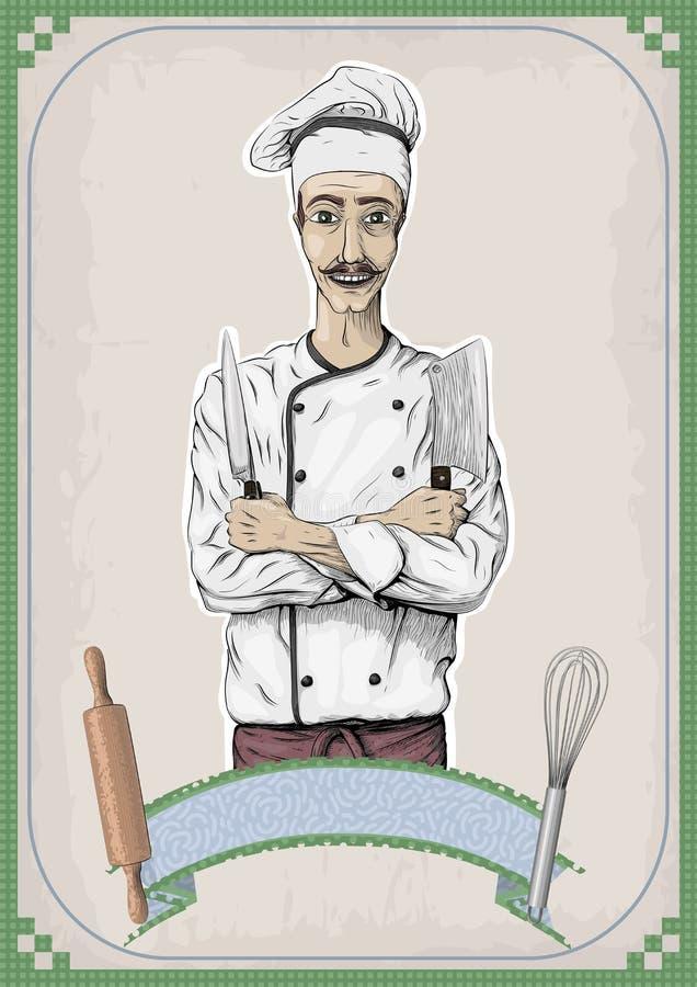 Mężczyzna męskiej osoby potomstw kuchenki szefa kuchni kucbarskiego pracownika szczęśliwy uśmiech ilustracja wektor