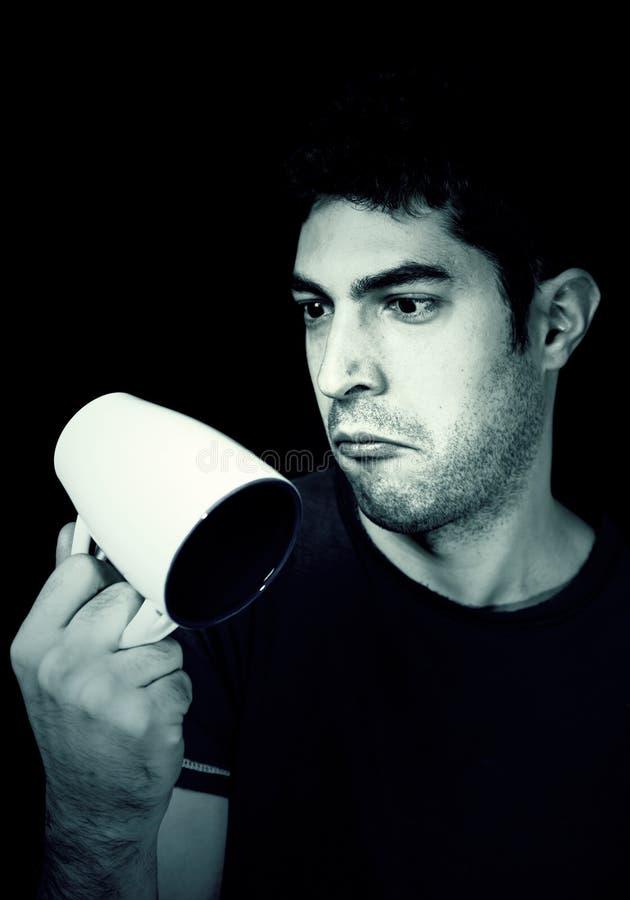 Mężczyzna ma śniadanie z kawą fotografia stock