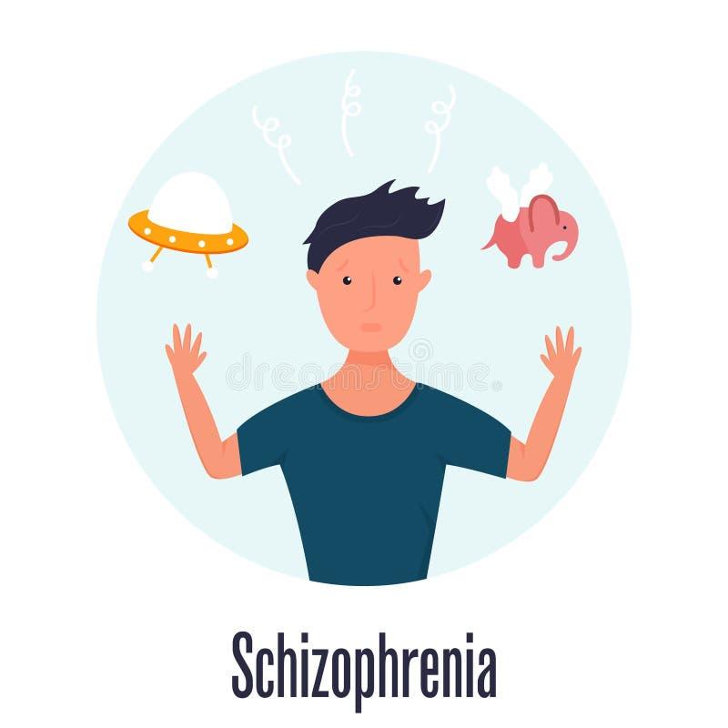 Mężczyzna ma halucynacje Schizofrenia problem royalty ilustracja
