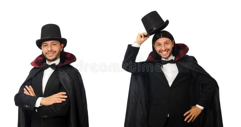 Mężczyzna magik odizolowywający na bielu fotografia royalty free