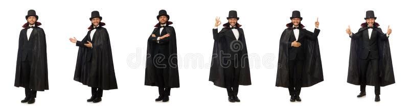 Mężczyzna magik odizolowywający na bielu obrazy stock